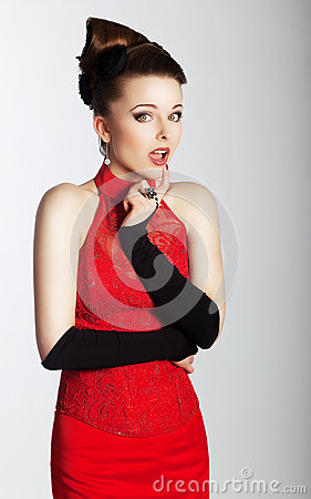 Stylish lovely woman in fashionable red dress look