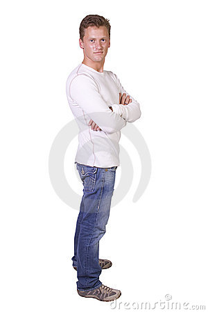 Stylish male model  standing with arms crossed