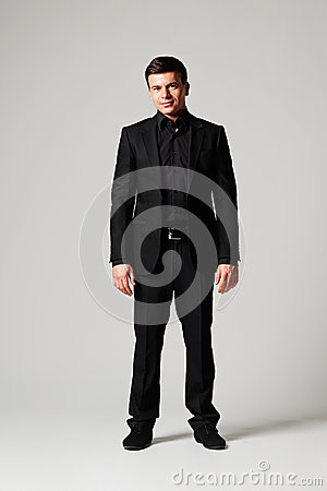 Stylish man in black suit