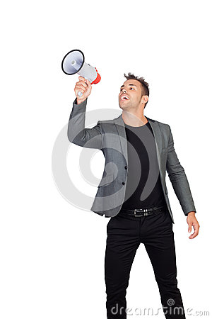 Stylish man with megaphone