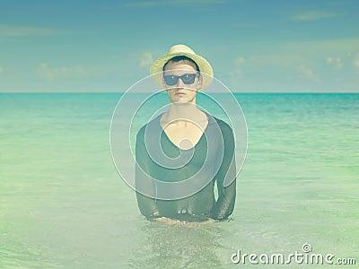 Stylish man in the sea
