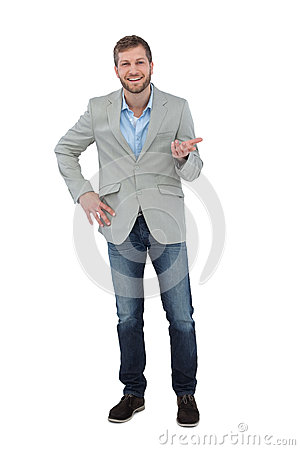 Stylish man smiling and gesturing