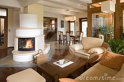 Stylish modern living room with fireplace