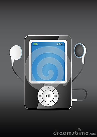 Stylish modern MP3 player with earphones