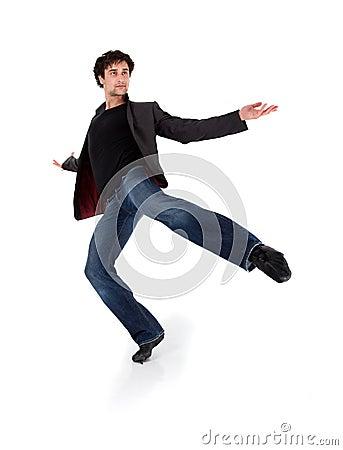 Stylish modern performer dancing