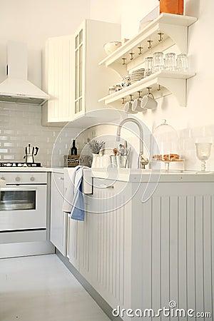 Free Stylish Modern White Kitchen Royalty Free Stock Image - 18369306