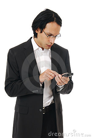 Stylish professioinal sending a text message