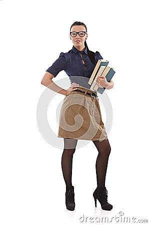 Stylish schoolmistress with books