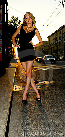 Stylish sexy city woman