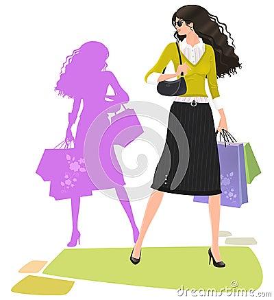 Stylish shopping woman