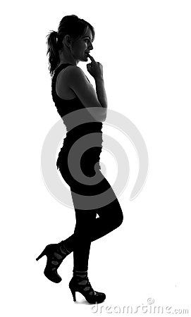Stylish silhouette of Caucasian woman posing