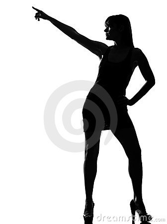 Stylish silhouette woman dancer dancing pose