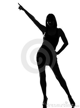 Stylish silhouette woman dancing posture pointing