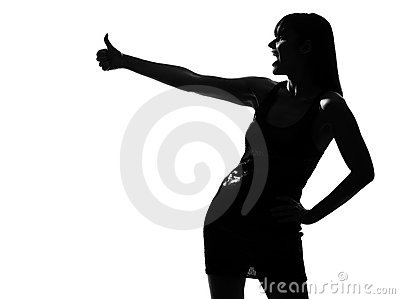 Stylish silhouette woman laughing thumb up