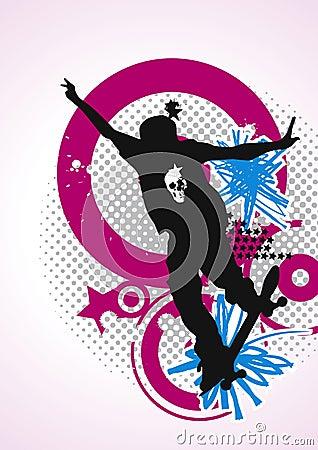 Free Stylish Skater With Graffiti Tags Magenta & Royalty Free Stock Photo - 10341385