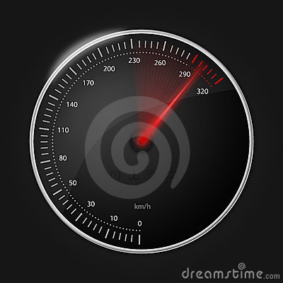 Stylish speedometer with glowing red indicator