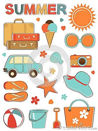 Stylish summer icons set