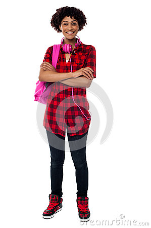 Stylish university student with folded arms