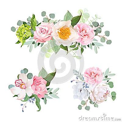Stylish various flowers bouquets vector design set. Green hydran Vector Illustration