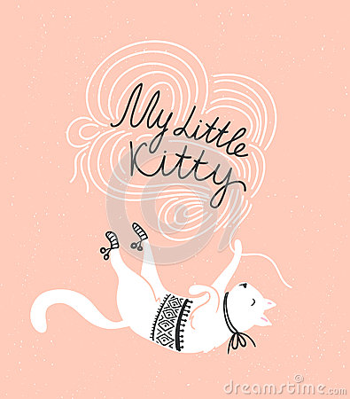 Free Stylish Vector Card With Cute White Cat And Stylish Lettering  My Little Kitty . Stock Photos - 74096583