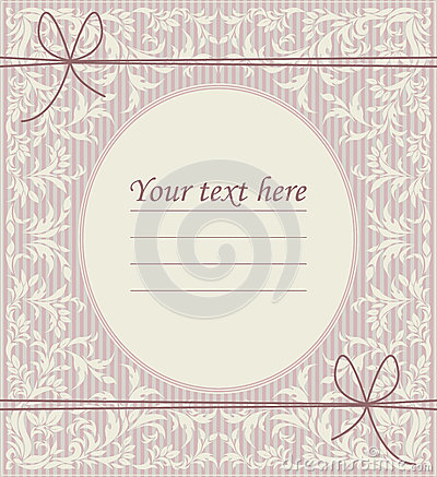 Free Stylish Vintage Oval Frame With Classic Ornament, Bows And Place Royalty Free Stock Photos - 64681748