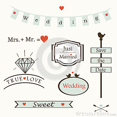 Stylish wedding elements and logos and labelsand  symbols, vector