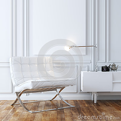 Free Stylish White Leather Armchair In Classic Interior Design Royalty Free Stock Photography - 44080007