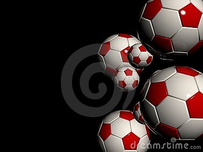 Stylish white red soccer balls
