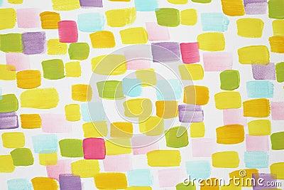 Stylish white wall with many varicoloured brush strokes