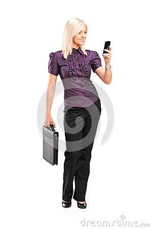 Stylish woman talking on a phone