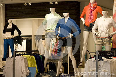 Women clothing fashion store interiors