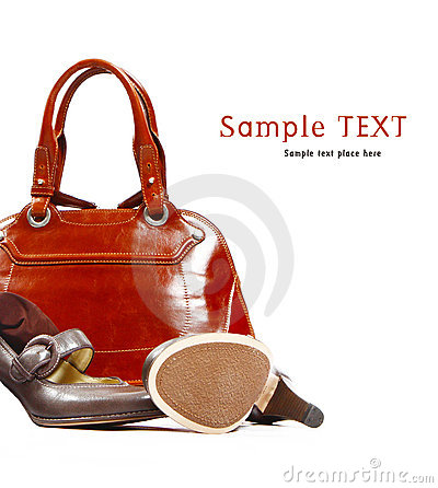 Stylish women s leather bag and shoes