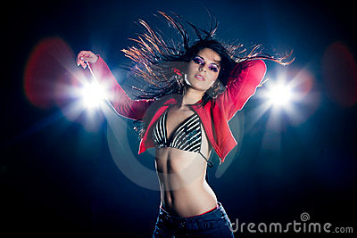 Stylish young dancing girl