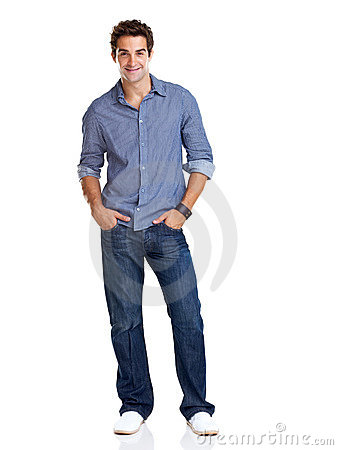 Stylish young guy posing confidently over white