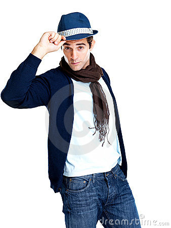 Stylish young man wearing a hat against white