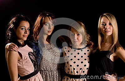 Stylish young teenage girls on a night out