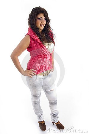 Stylist woman posing in pink