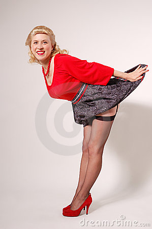 Stylization of happy pin-up girl with dress up