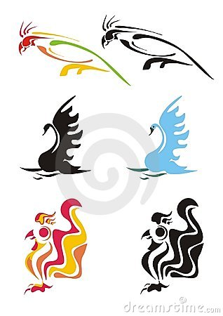 Stylization of a parrot, swan and cock