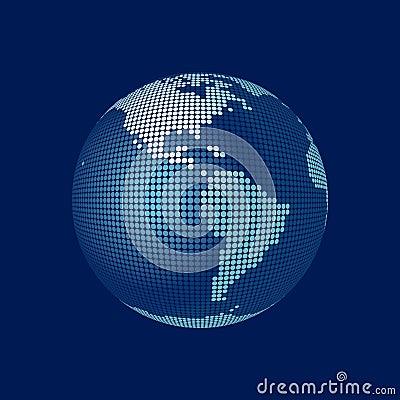 Stylized 3D vector globe, america