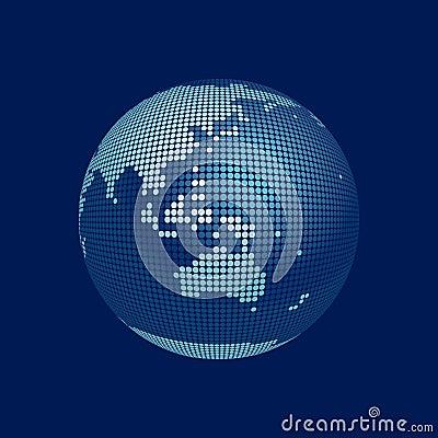 Stylized 3D vector globe, australia