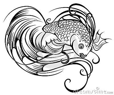 Stylized beautiful fish