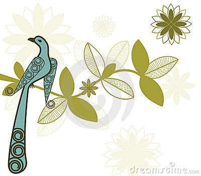 Stylized bird on branch