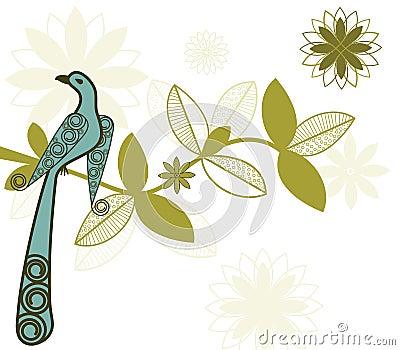 Stylized bird on branch