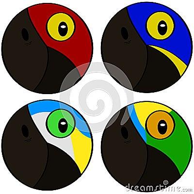 Stylized bird heads