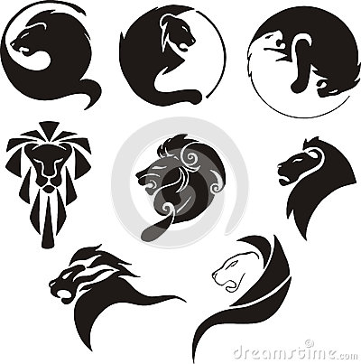 Stylized black lions