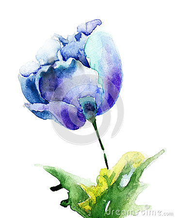Stylized blue Tulip flowers