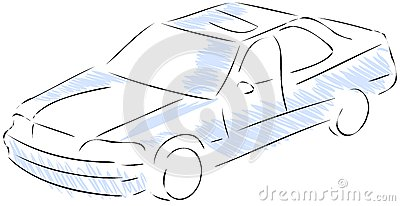 Stylized car in blue and black isolated