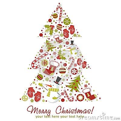 Stylized christmas tree with xmas toys balls stock - Stickers sapin de noel design ...