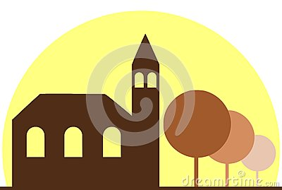 Stylized church with trees and sun isolated